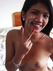 Cheating dark-skinned beauty strips takes huge load to the face
