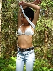 Indian girlfriend strips naked in the forest